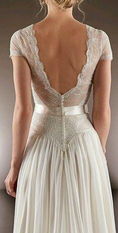 Kinda like a vintage wedding dress. Lace V-Back Gown Pretty Dresses, Beautiful Dresses, Bridal Gowns, Wedding Gowns, Yes To The Dress, Wedding Attire, Casual Wedding, Dream Dress, Wedding Styles