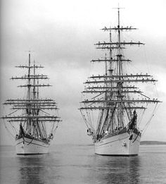 """Horst Wessel [Right] & Gorch Fock [Left]"" …… Unknown Date …. The Horst Wessel (built in 1936) became the USCG Eagle after World War II."