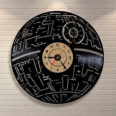 Death Star Wars Decor Vinyl Record Clock Home Design Room Art * You can get additional details at the image link. (This is an affiliate link and I receive a commission for the sales) Vinyl Record Crafts, Vinyl Record Clock, Old Vinyl Records, Record Wall, Vinyl Wall Art, Star Wars Room, Star Wars Decor, Star Wars Art, Design Room