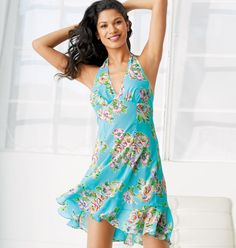 PRICE REDUCED Watercolor Printed Chemise XL 100% Polyester (tried on once) Crystal