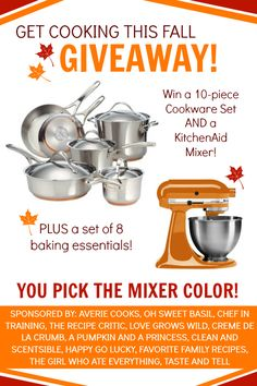 The Ultimate Fall Giveaway on chef-in-training.com ... Come enter for your chance to win a 10-piece cooking set AND a KItchenAid!