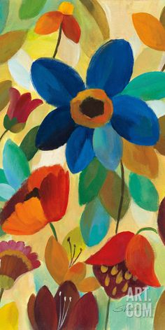 "Summer Floral Panel I Art Print by Silvia Vassileva at Art.com, 12""x24"""