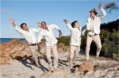 Looks like they had a blast! View our photo gallery on our website for more customer photos! Casual Groom Outfit, Casual Grooms, Crazy Wedding, Wedding Men, Wedding Tips, Beach Wedding Groom Attire, Mens Attire, Men Beach, Beach Wedding Decorations