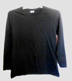 Gildan Heavy Cotton Black Long Sl. Top Scoop Neck Size L #Gildan #KnitTop #Career