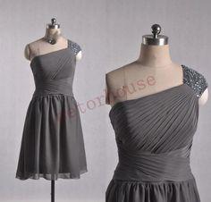 Dark Gray Short Prom Dresses Bridesmaid Dresses by petorhouse