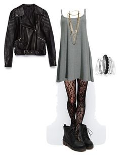 inspired outfit for a 21 pilots concert by effy-stonem-style featuring chanel jewelry Swing dress, 235 BRL / Zara black leather jacket, 725 BRL / Gipsy lace stocking, 52 BRL / Black ankle booties, Edgy Outfits, Grunge Outfits, Fall Outfits, Fashion Outfits, Womens Fashion, Fall Dresses, Cute Punk Outfits, Fashion 2018, Indian Outfits