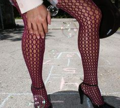 Croche Fishnets by We Love Colors in Maroon style #1452