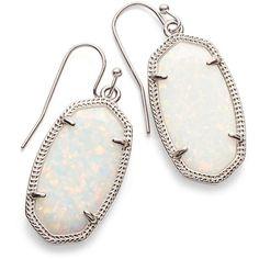 Kendra Scott Dani Silver Drop Earrings in White Kyocera Opal ($130) ❤ liked on Polyvore featuring jewelry, earrings, opal drop earrings, white earrings, earring jewelry, white opal jewelry and opal earrings