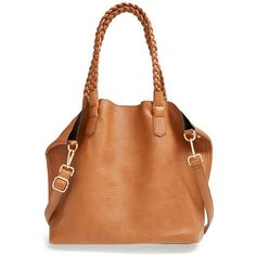 Street Level Junior Street Level Slouchy Faux Leather Tote with Pouch ($56) ❤ liked on Polyvore featuring bags, handbags, tote bags, cognac, woven tote, pocket pouch, vegan tote bags, zipper pouch and zip pouch