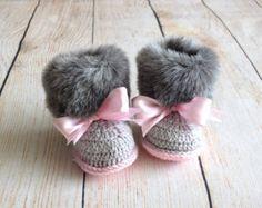 Crochet botitas de bebé zapatos de bebé botas por EditaMHANDMADE