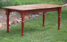 Country Farm Table distressed red