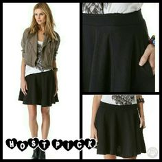 We The Free People Black Skater Baby Skirt This skirt is brand new. It is the Skater Baby Circle Skirt in Black. It's a flirty french Terry skirt with a raw edged, covered elastic waistband for a relaxed fit. Has patch hip pockets and is unlined. Made of 50% polyester 38% cotton 12% rayon. Tag size is Medium. Free People Skirts Circle & Skater