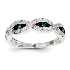 14k White Gold White & Blue Diamond Ring Y11917AA