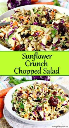 Crunchy, healthy, and completely addictive. This Sunflower Crunch Chopped Salad has it ALL going on! Crunchy, healthy, and completely addictive. This Sunflower Crunch Chopped Salad has it ALL going on! Kale And Cabbage Recipe, Cabbage Salad Recipes, Chopped Salad Recipes, Healthy Salad Recipes, Vegetarian Recipes, Cooking Recipes, Chopped Salads, Vegetable Salad Recipes, Side Salad Recipes