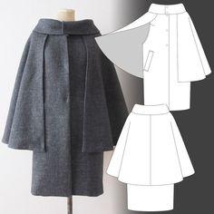 Бесплатные выкройки от японцев / Простые выкройки / Like the idea of the cape being removable.