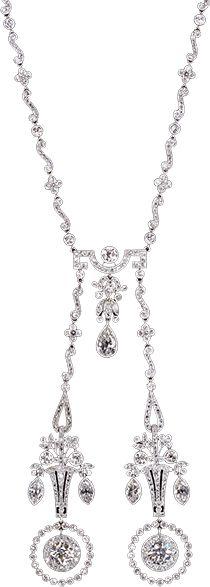 ALBION ART Antique Jewelry - Platinum, Diamond Pendant, ca.1910.