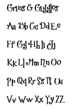 cute font - grins and giggles