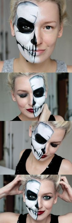 Make-up Halloween faces - 30 simple examples with a guarante.- Make-up Halloween faces – 30 simple examples with a guaranteed scary effect Make-up Halloween faces – 30 simple examples with a guaranteed scary effect - Half Face Halloween Makeup, Visage Halloween, Halloween Makeup Clown, Maquillage Halloween, Halloween Kostüm, Halloween Costumes, Demon Makeup, Creepy Makeup, Simple Skull