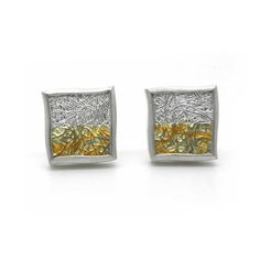 www.ORRO.co.uk - Gill Galloway Whitehead – Small Silver & Gold Horizon Studs - ORRO Contemporary Jewellery Glasgow...