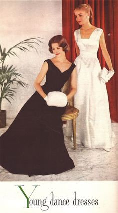 Young 1957 Dance Dresses, McCalls Magazine - the black one is gorgeous! Vintage Dior, Vintage Glamour, Vintage Dresses, Vintage Outfits, Vintage Clothing, Vintage Beauty, Fifties Fashion, Vintage Fashion, Fifties Style