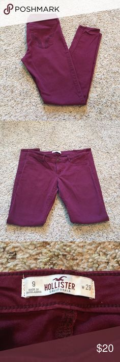 Hollister Maroon Skinny Jeans Size 9 Hollister maroon skinny pants, twill style material. Size 9, regular length. Great condition, only worn a handful of times. Hollister Pants Skinny
