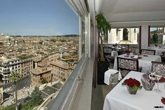 Rome. I want to try this place for the view.  Imàgo, Above the Spanish Steps. One of Rome's oldest luxury rooftop restaurants, Imàgo has a 360-degree view across the historical center of the city from its position atop the Spanish Steps as well as one Michelin star.