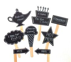 8 Chalkboard Photo Booth Props Speech Bubble Props Chalk board Photobooth Props Set of 8 Wedding Photo Props Decoration