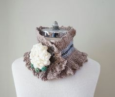 Peony brooch Lace scarf in hand painted by ValerieBaberDesigns