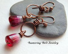 Pomegranate Seed Red Drop Earrings on Rustic Hammered Copper Hoops by Bantering Bird Jewelry
