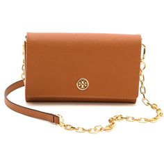 Tory Burch Robinson Chain Wallet - Luggage/Gold ($295) ❤ liked on Polyvore featuring bags, clutches, purses, accessories, bolsas, strap bag, pocket bag, gold chain wallet, envelope clutch and hardware bag