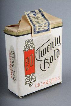 Forssan museo. Strengbergin tupakkatehtaan Twenty Gold pehmyt tupakka-aski, jossa valmiiksi käärittyjä savukkeita.