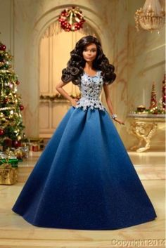 2016-Holiday-African-American-Barbie-Doll-Blue-Dress-Hope-Peace-Love-Collection