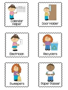 This freebie is a set of classroom jobs for students. Each job has a picture and title with a black zigzag outline. If you need something chang. Preschool Classroom Jobs, Preschool Job Chart, Classroom Job Chart, Preschool First Day, Classroom Rules Poster, Classroom Helpers, First Grade Classroom, Preschool Themes, Classroom Organization