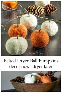 These felt dryer ball pumpkins are easy to make and perfect for your fall decor. Bonus: When you are done use them in the dryer to soften your clothes. These felt dryer bal Diy Home Crafts, Fall Crafts, Crafts To Make, Pumpkin Crafts, Halloween Crafts, Holiday Crafts, Fall Home Decor, Autumn Home, Fall Projects