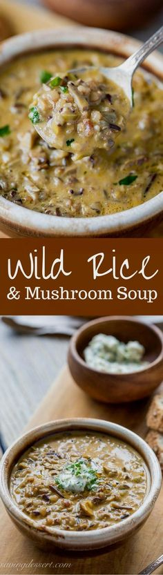 Wild Rice Mushroom Soup with Parsley Butter -Rich, hearty, earthy and comforting - this soup is unique and perfect for the mushroom lover in your house. Cant wait to try this! stuffed_mushrooms_with_cream_cheese, bread crumbs Sopas Light, Crockpot Recipes, Cooking Recipes, Rice Recipes, Recipies, Kitchen Recipes, Cooking Tips, Crockpot Lunch, Chicken Recipes