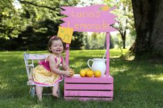 Pink lemonade stand first birthday. The stand was super easy to make... obviously, because I made it! #pink_lemonade #lemonade_stand