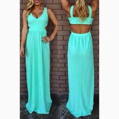 How to Chic: GET THE BLOGGER LOOK - MINT CUT OUT MAXI DRESS