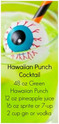 Hawaiian Punch Cocktail ~ Starts with green Hawaiian punch, and has a version for adults and the kids! Hawaiian Punch Cocktail - Halloween cocktails are so much fun! This starts with green Hawaiian punch, and has a version for adults and the kids! Hawaiian Punch Recipes, Green Punch Recipes, Alcoholic Jungle Juice, Alcoholic Punch, Green Alcoholic Drinks, Alcoholic Shots, Party Drinks Alcohol, Alcohol Drink Recipes