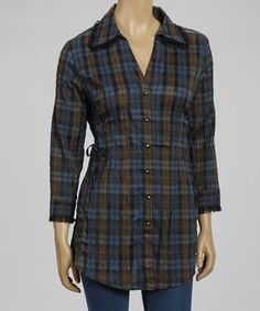 Love this Brown & Blue Plaid Button-Up Tunic by Live A Little on #zulily! #zulilyfinds