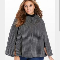 Black and white cape Non stretch  Zip up Jackets & Coats Capes