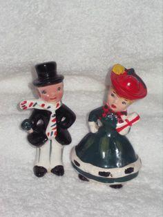 Vintage  Shopper Christmas Girl & Man Figurine Salt and Pepper Shakers Decoration porcelain Japan Lefton Napco. $40.00, via Etsy.