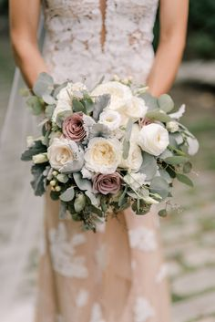 Elegant Vintage Bouquet of White and Mauve Roses and Eucalyptus Leaves – www.the… Elegant Vintage Bouquet of White and Mauve Dusty Rose Wedding, White Wedding Bouquets, Rustic Wedding Flowers, Wedding Flower Arrangements, Bridal Flowers, Flower Bouquet Wedding, Floral Wedding, Rustic Bouquet, Purple Bouquets