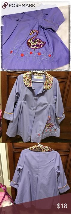 Maria Elena Swing Jacket Button up lightweight swing jacket with floral accents on collar and sleeve. Swan appliqué. Maria Elena Jackets & Coats