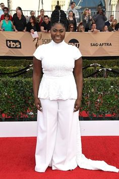 They usually say brides are the visions in white on their big days, but OITNB star Danielle Brooks reclaimed that role in Christian Siriano tonight. And she did it in a pair of pants nonetheless. #refinery29 http://www.refinery29.com/2017/01/138352/best-dressed-celebrities-sag-awards-2017#slide-22