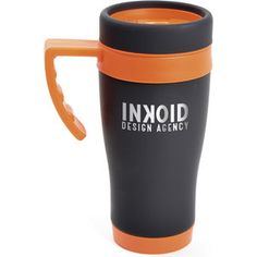 Promotional Products, Promotional Travel Mugs    Oregon Black  450ml black rubberised stainless steel travel mug with plastic interior. Includes coloured base, handle, top band and lid. Handle is gripped for ease when holding. Conforms to articles in contact with food testing.