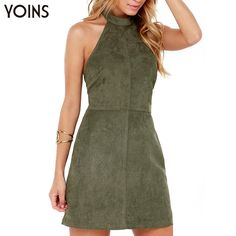 YOINS Summer Style Fashion Women Suede Dress Halter Neck Off Shoulder Sleeveless Mini Dress Sexy Backless Dress Vestidos-in Dresses from Women's Clothing & Accessories on Aliexpress.com | Alibaba Group