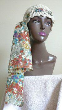 Head Huggers: Crochet Pattern: 18  Crochet Chemo Cap With Scarf Tie  Crochet Head Hugger  Designed by: Barbara in Florida