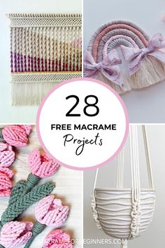 Discover 28 beginner-friendly and FREE Macrame projects to learn new knots and patterns from our talented team of featured Macrame teachers! Recently we celebrated the one-year anniversary of our website macrameforbeginners.com and today we're cheering for the fact that our wonderful Macrame for Beginners Facebook Group just reached 28k members! #macrame #macramepatterns #craft #diy Macrame Plant Hanger Patterns, Free Macrame Patterns, Macrame Supplies, Macrame Projects, Hanging Flower Wall, Large Macrame Wall Hanging, Macrame Cord, Macrame Knots, Macrame Tutorial