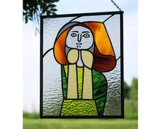 Pablo Picasso in Stained Glass - Portrait De Femme a La Robe Verte (Woman in Green Dress) by Northwind Glass