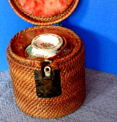 Chinese Export Teapot, Famille Rose Canton  with Unusual Fitted Wicker Basket, Antique 19th C